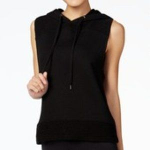 JESSICA SIMPSON Black warm up terry hooded vest